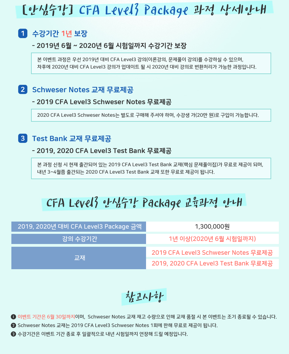 2019년, 2020년 대비 CFA Level 3 Package