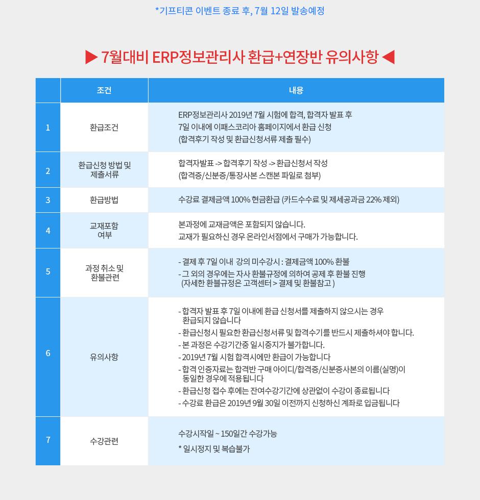 7월대비 ERP정보관리사 환급+연장반 유의사항