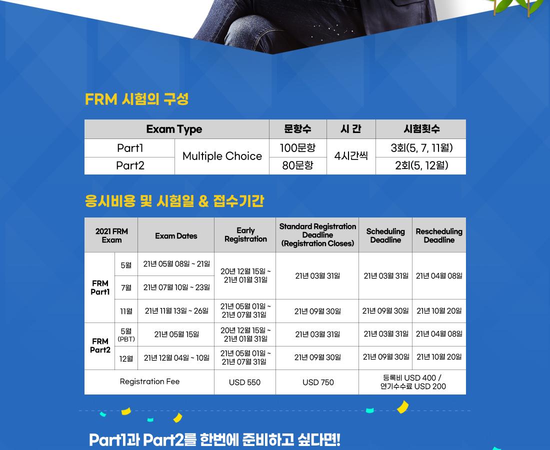 FRM 시험 구성 및 응시 비용 접수기간